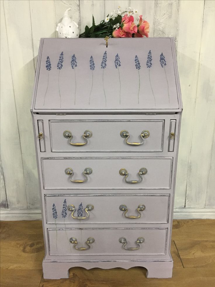 Small bureau, painted in Paloma, Old Violet and Country Grey, and sealed with hemp oil.