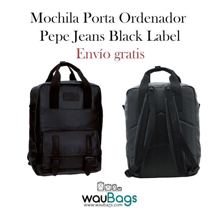 ¡¡Mochila Pepe Jeans Black Label, ideal para llevar siempre contigo tu ordenador portátil de hasta 13″!!  Con un compartimento principal con cremallera y un bolsillo acolchado interior para tu Tablet o Portátil de hasta 13″, además de un bolsillo delantero con solapa.  Cuenta con dos correas acolchadas ajustables y dos pequeñas asas con cierre de sujección metal popper (cierre metálico). @waubags #pepejeans #mochila #portaordenador #portatil #ordenador #