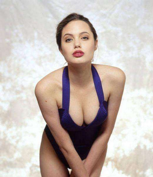 Young Angelina Jolie Wearing a Violet Slit Gown
