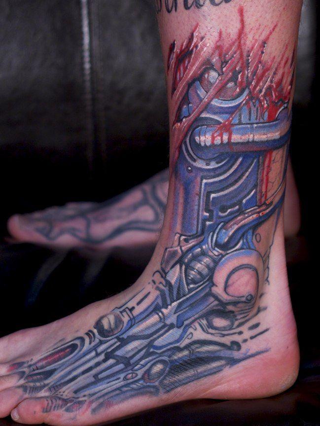 Biomechanical leg tattoo #Biomechanical #tattoo