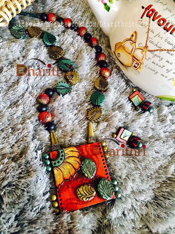 Entirely handmade Kalamkari terracotta jewellery made from terracotta from Dharithri https://m.facebook.com/Dharithriterracotta/