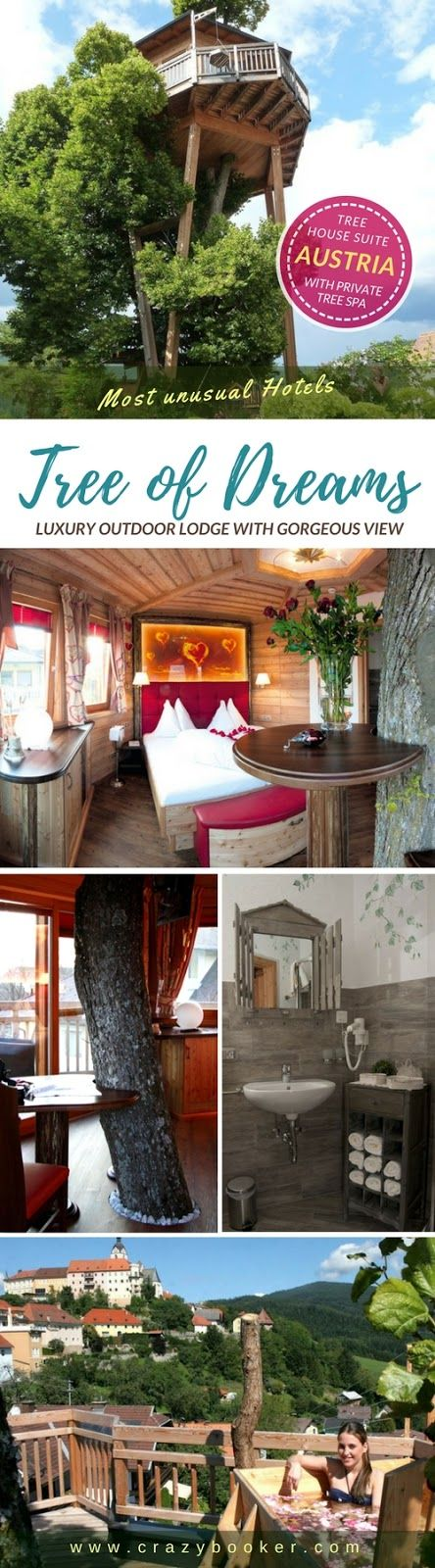 Travel to the Austrian Alps and stay in the 'Tree of Dreams' | This luxurious treehouse turns out to be a cozy hotel suite in a lime tree with gorgeous Karawanken view, ensuite bathroom with running water and private outdoor bathtub on the treetop terrace at 14 metres height | The winter-proof tree house in one of Austria's highest mountain villages can be booked all year round | #travel #austria #treehouse