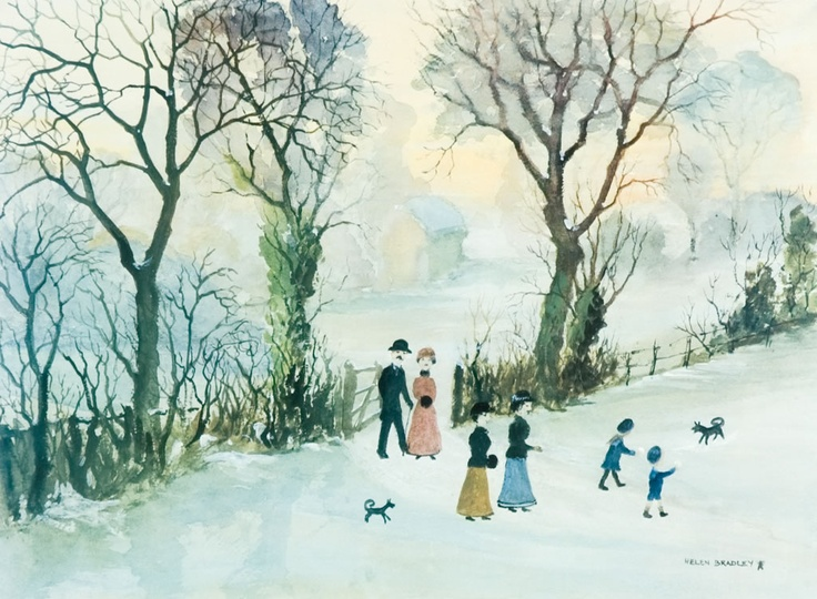 Helen Bradley Going Home Through the Snow.
