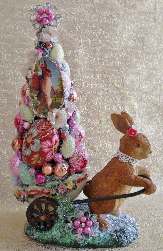 Easter Bunny Cart Decorated Tree Vintage Easter Image Wooden