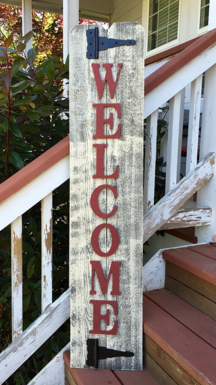 Front Porch Barn Red Wood Sign Front Porch Welcome by RedRoanSigns