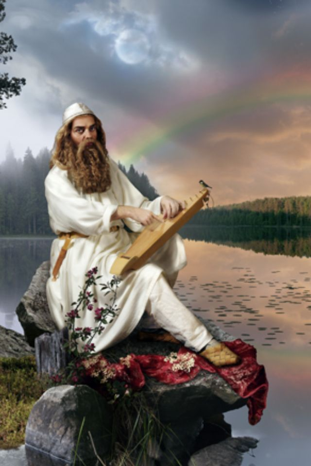 Väinämöinen- Finnish myth: the first man and god of chants, songs and poetry. His mother was Ilmatar and his father the sea. He was there at the beginning of creation. He was in his mothers womb for 730 years.