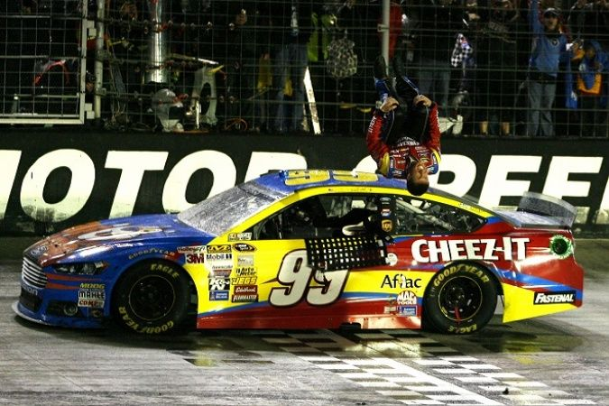 Carl Edwards won an incident-filled and rain-interrupted NASCAR Sprint Cup race at Bristol Motor Speedway. RACER.com