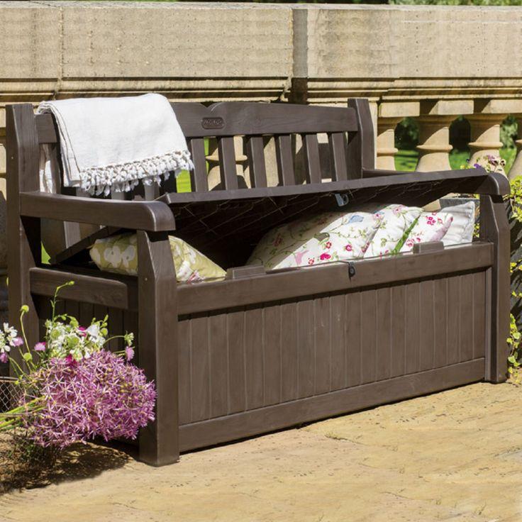 Outdoor Keter Eden 70-Gallon Plastic Storage Bench Deck Box - 213126 - 213126