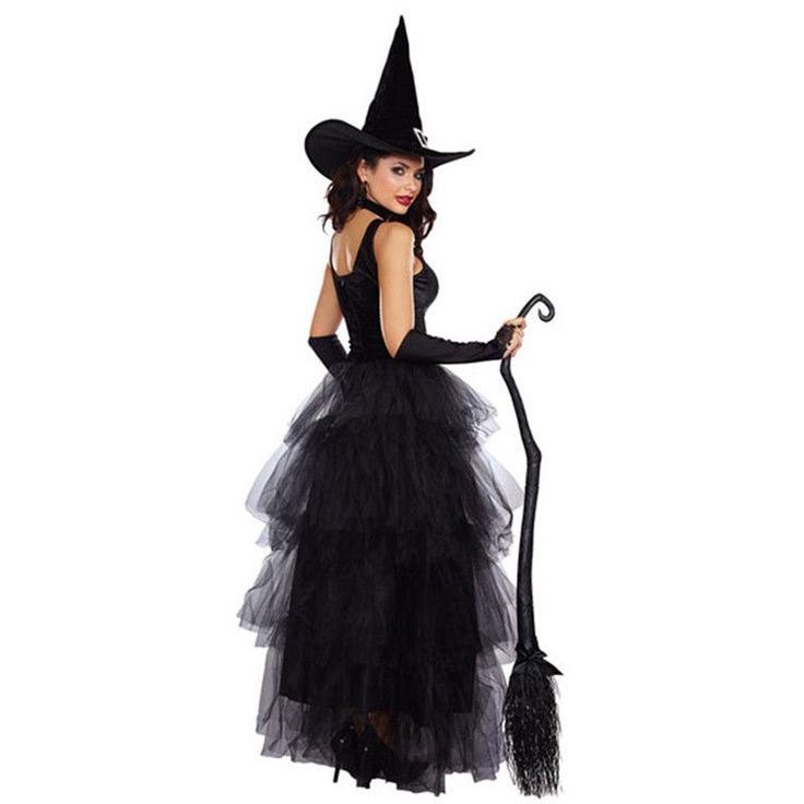 Women Adult Halloween Party Black Wicked Witch Fancy Dress +Hat Cosplay Costume #Unbranded #CosplayOutfitCostume