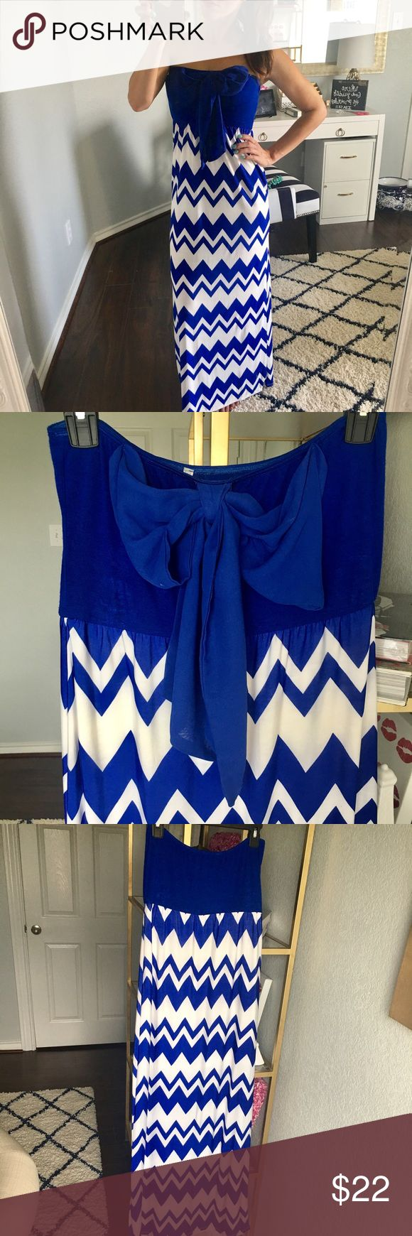 Blue Chevron Dress This adorable blue and white Chevron strapless maxi dress is the perfect package complete with a bow 🎀 Worn to take pictures on the Florida beaches 🌊 // No trades, please💋 Rachel Kate Dresses Maxi