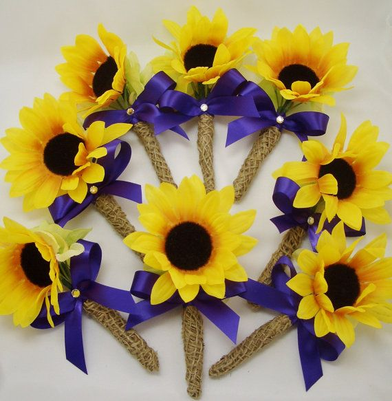 8 Sunflower / Burlap Boutonnieres, Silk Flowers,  Made to Order, Woodland / Rustic Wedding, Yellow and Purple