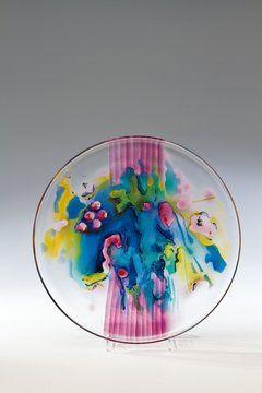 Painted decorative glass disk, D:32,5 cm, 1989