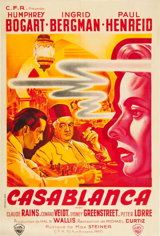 Vintage French movie poster - Casablanca (1942), artist Pierre Pigeot