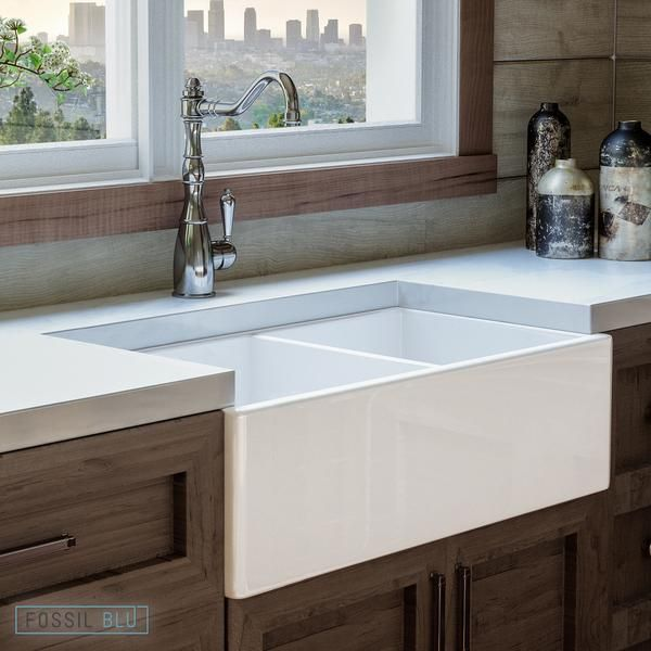 Fsw1003 Luxury 33 Inch Pure Fireclay Modern Farmhouse Sink In White Double Bowl Free Grids Farmhouse Sink Farmhouse Sink Kitchen Sink Design