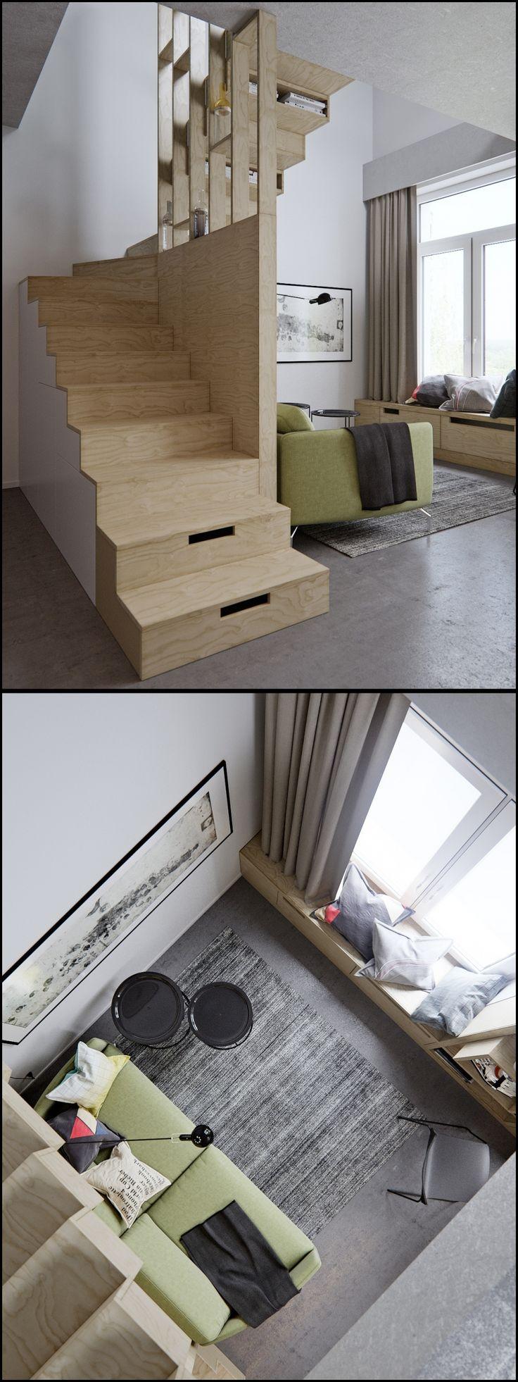 Гостиная студия в двухуровневой квартире площадью 40 кв м - Галерея 3ddd.ru