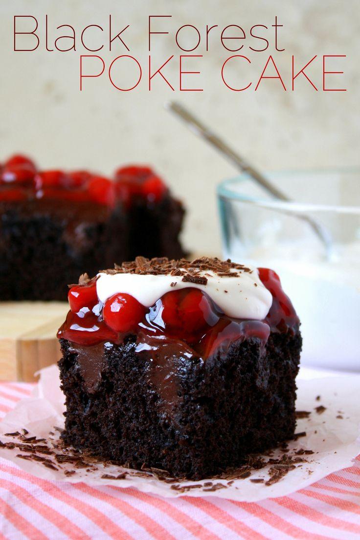 This Black Forest poke cake combines fudgy chocolate cake, luscious chocolate ganache, and juicy cherries. Bonus: it's vegan!