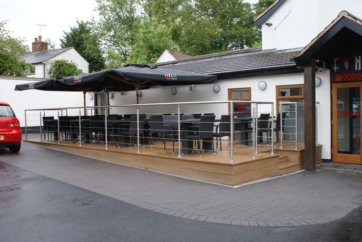 Wire Rope #Balustrade on Outdoor #Decking for a Restaurant