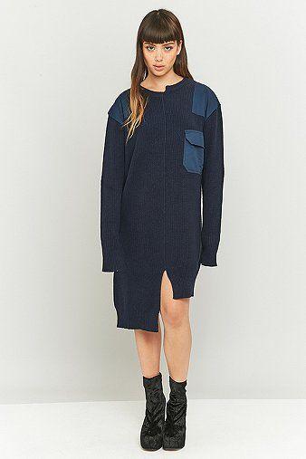 MARIOS - Asymmetrisches Midi-Pulloverkleid im Military-Style in Marineblau - Damen 40 http://portal-deluxe.com/produkt/marios-asymmetrisches-midi-pulloverkleid-im-military-style-in-marineblau-damen-40/