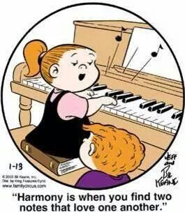 """Harmony is when you find two notes that love one another."" Family Circus #musicjoke"