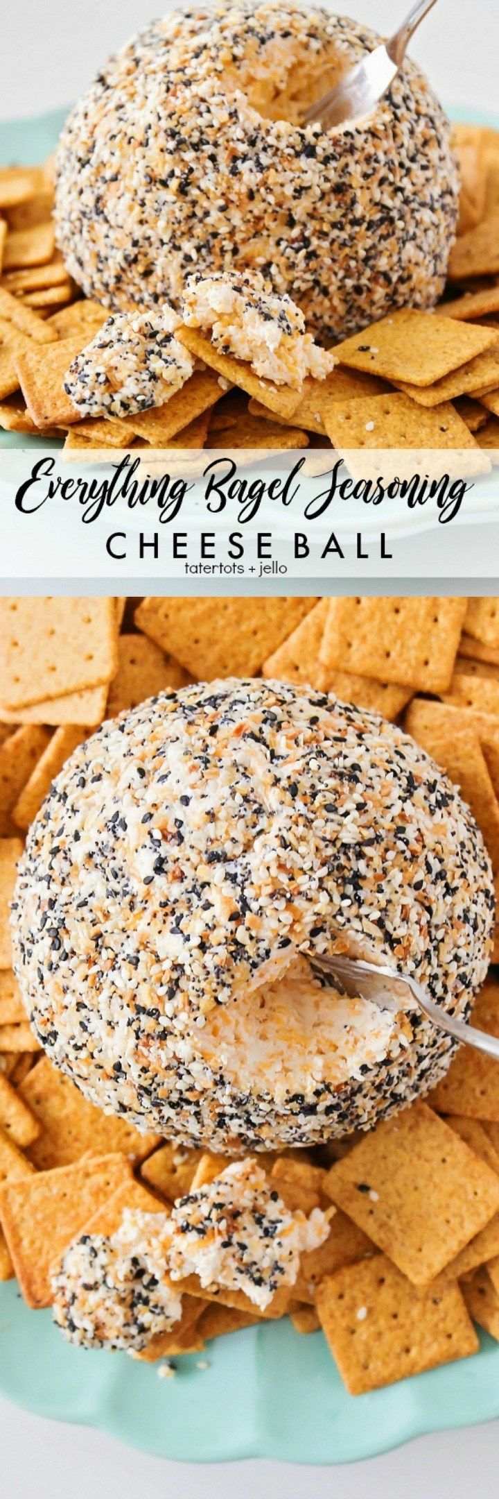 everything bagel seasoning cheese ball – soft cheese inside, crunchy outside. Th…