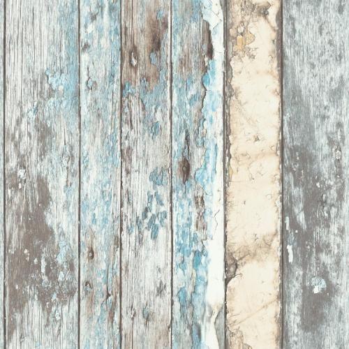 PE-10-01-2 Tapete Antik Holz verwittert beige braun türkis blau (1,89€/m)