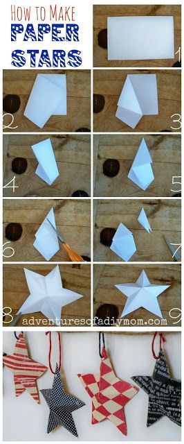 How to Make 3-D Paper Stars with patterned paper. Great for 4th of July decor!