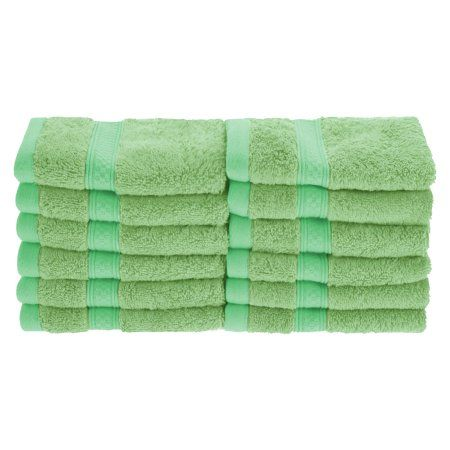 Superior 650GSM Rayon From Bamboo 12-Piece Face Towel Set, Green