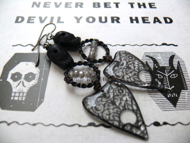 Never Bet the Devil Your Head - artisan black grey labradorite ouija resin planchette skull goth romantic earrings by PreciousViolet on Etsy