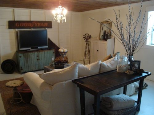 our basement FAMILY room...it's a flip of our main level that has white ceilings and wood floors!