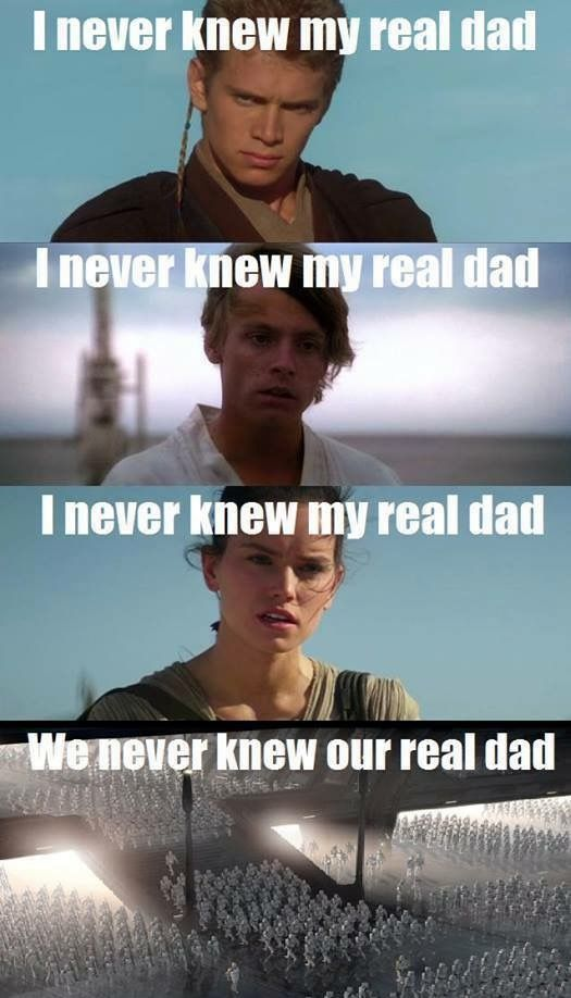 This is why the galaxy is in the dilemma that it's in. There're no fathers to…