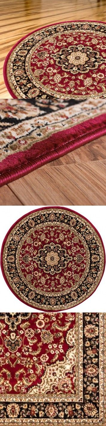 Persian Classic Red Burgundy 7'10'' ROUND Area Rug Oriental Floral Motif Detailed Classic Pattern Antique Living Dining Room Bedroom Hallway Office Carpet Easy Clean Traditional Soft Plush Quality