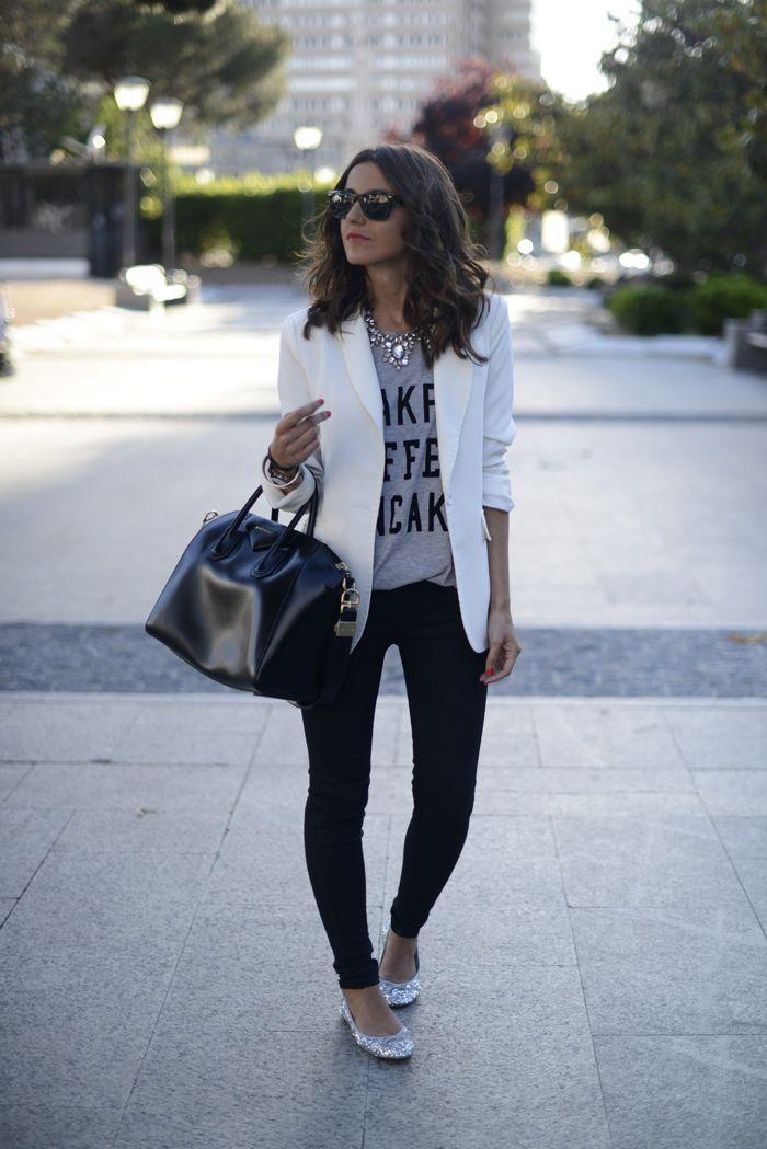 10 Ways to Wear a White Blazer Graphic Tee