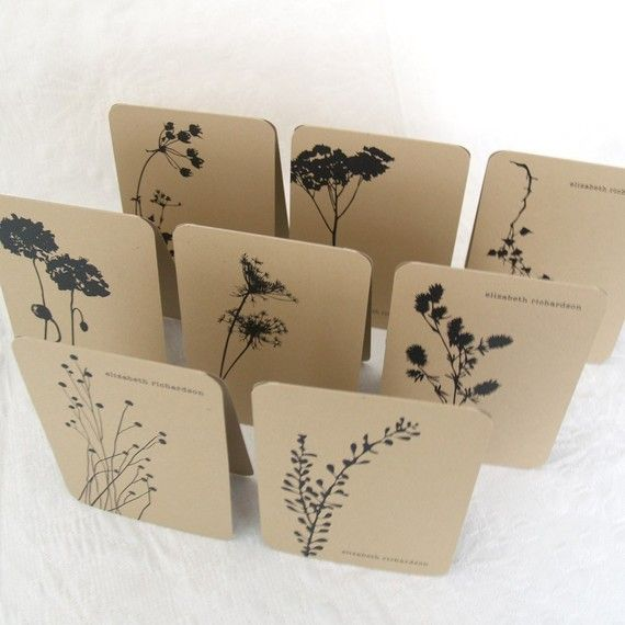 handmade notecards ...kraft with black inked flower images . . . lovely set ... one layer ... rounded corners ... luv them!!
