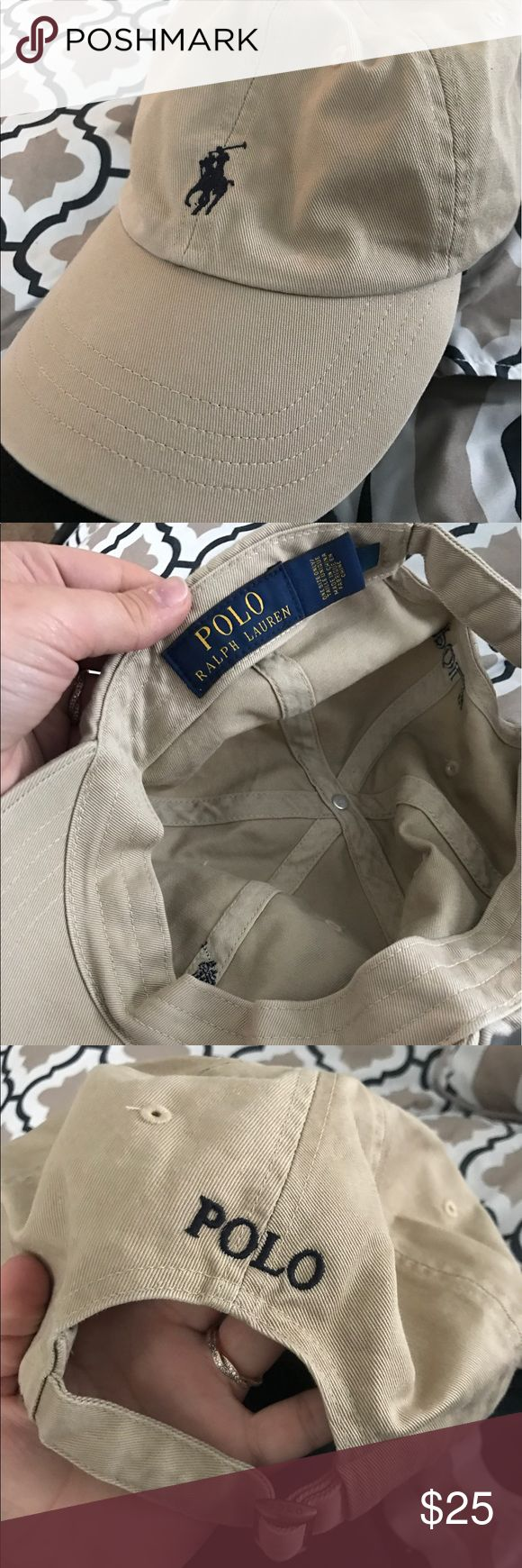 Ralph Lauren polo tan hat Ralph Lauren polo baseball cap. Worn once. Tan with navy accents. Adjustable. Polo by Ralph Lauren Other