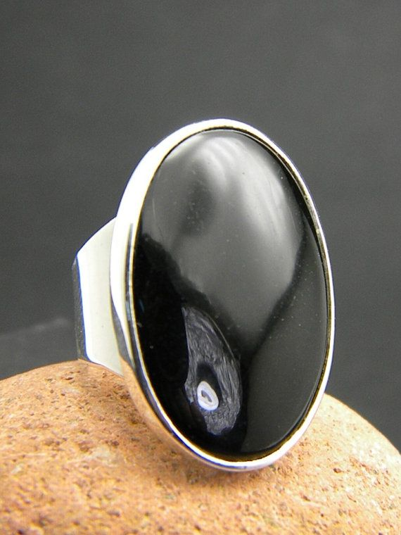 Large black onyx ring sterling silver huge oval by nikiforosnelly