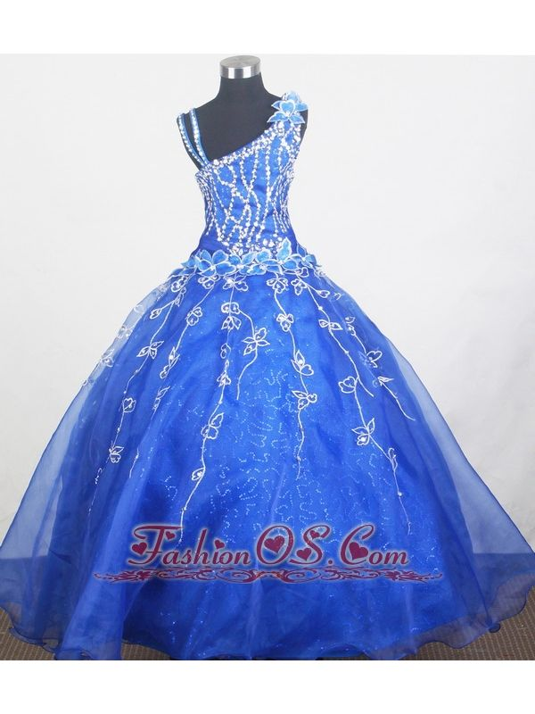 Beautiful Little Gril Pageant Dress With Beading and Hand Made Flowers    http://www.fashionos.com  http://www.facebook.com/quinceaneradress.fashionos.us   Any little girl would love it. Its flared, floor-length skirt is enhanced by shining appliques around the waistline and rain down to the hem.