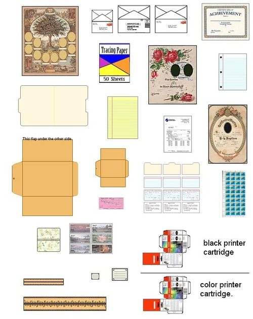 suvasi:   More DIY doll house furniture and accessories from patterns and printable pages. Ready to go doll house miniatures, furniture, ac...