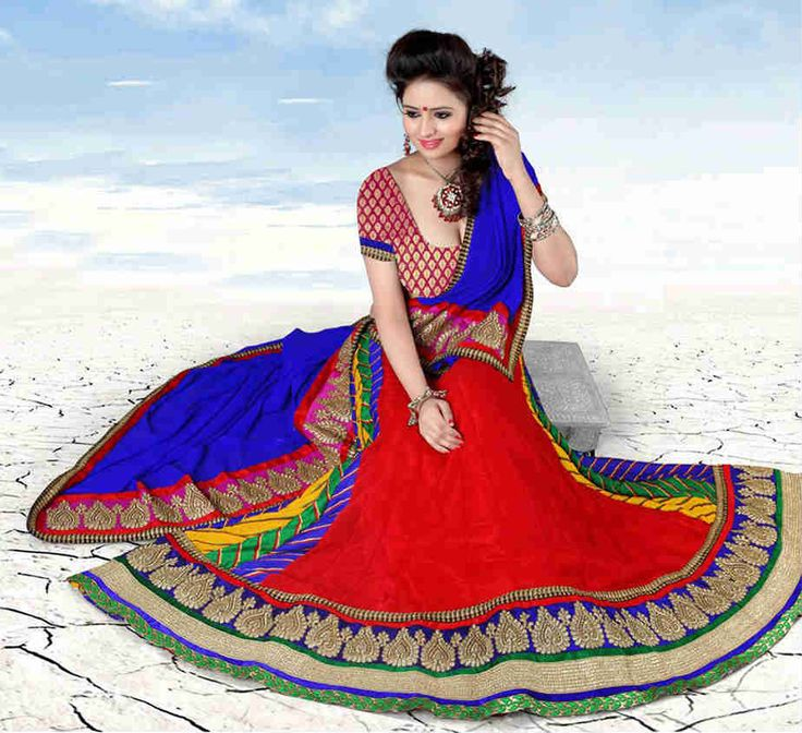 STRIKING CHIFFON AND MOSS WEDDING RED LEHENGA CHOLI 1552 – Stylish Bazaar