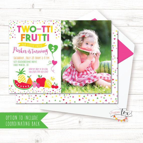*Important info below - please read this page*  Fresh and oh-so-colorful, this two-tti frutti invitation is perfect for welcoming your guests to a sweet 2nd birthday celebration! This design features a photo of the birthday girl, and fun fruit graphics in pink, green, orange, yellow, red. This invitation is available with a coordinating design to print on the reverse side. See below for details and choose this option in the drop down menu, if desired. * Decorate your party with the…