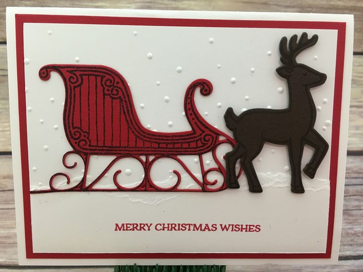 """This Christmas card uses Stampin' Up!'s Santa's Sleigh stamp set and Santa's Sleigh Thinlits Dies (bundled together for a discount!).  We just tore a piece of Whisper White cardstock and stamped the greeting and attached over the Softly Falling embossing folder piece at the bottom for the """"snow"""" look.  #stamptherapist #stampinup  www.stampwithjennifer.blogspot.com"""
