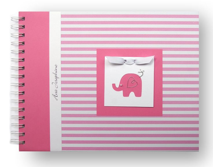 Personalized Baby Memory Book | Elephant Baby Book | Pink Stripes | 20 Designs to Choose from. This baby book is perfect for capturing all of the precious moments from baby's first year. The book in the cover photo is adorned with an elephant charm, but you can choose another, if you prefer (see options). This book is available in pink stripes or navy stripes (visit my storefront for other color and pattern choices). Each hard cover, handcrafted album includes personalization. Each baby...