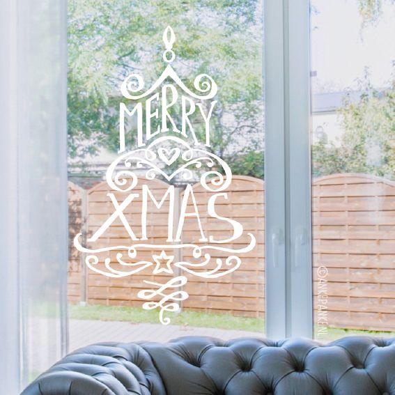 Geen zin in een schattig ontwerp, maar je wil toch iets op je raam tekenen voor de feestdagen? Dan zal deze elegante, typografische krullen kerstboom raamtekening heel mooi staan!