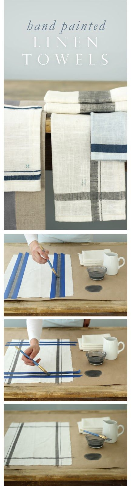 Easy Hand Painted Linen Kitchen Towels with Custom Colors and Monograms