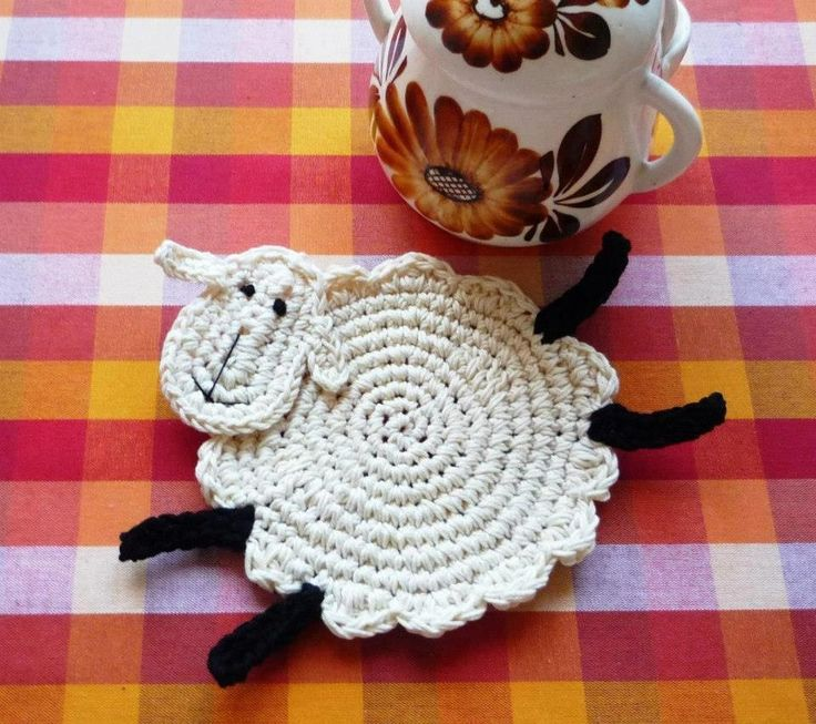 crochet sheep coaster