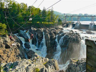 Zip-lining over Grand Falls, New Brunswick.