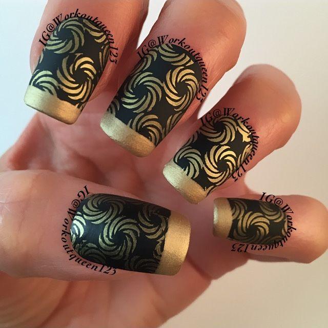 IG@workoutqueen123  Black and gold swirls French mani polishes used #chinaglaze Liquid Leather #opi 50 Years if Style #mundodeunas Gold-17, stamping plate used #faburnails Fun-15.#nail #notd #nails #nailart #nailporn #nailpolish #nailpromote ##craftyfingers #manicure #nailstagram #nailswag #nails2inspire #thenailartstory