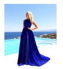 2016 горячая новый дизайн женская мода летние каникулы лонг-бич кружева платья девушки повседневная холодный ужин sexy тонкий синий платья # H562