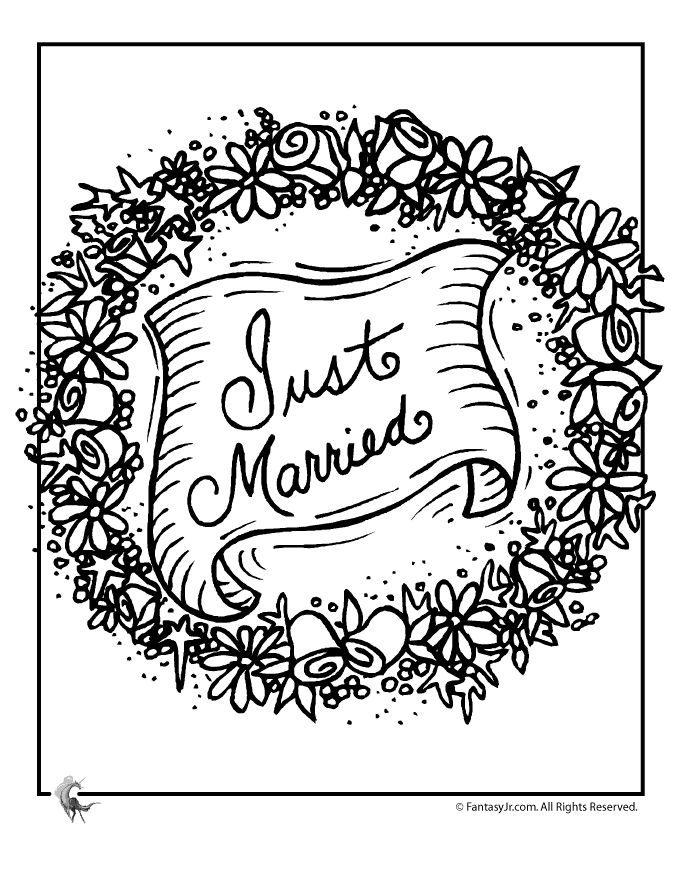 fantasy jr just married garland coloring page children coloring pagescoloring bookswedding - Wedding Coloring Books For Children