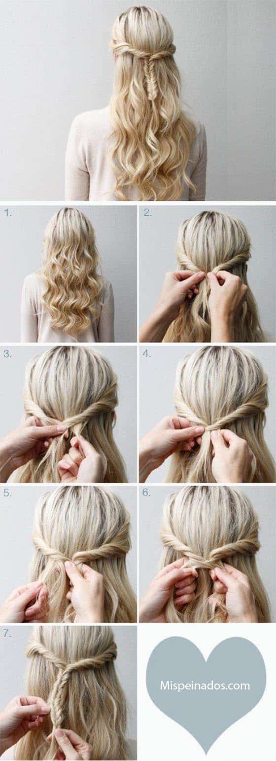 peinado pelo largo con diadema