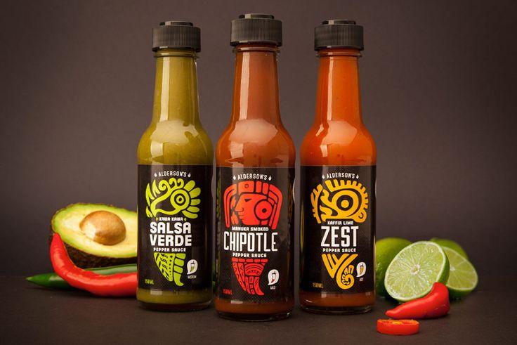 Aldersons   Premium New Zealand Made Hot Sauce Packaging Design